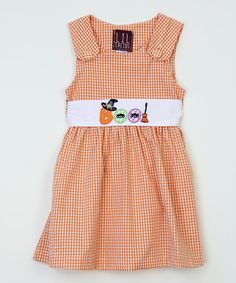 Look what I found on #zulily! Orange Gingham 'Boo!' Dress - Infant, Toddler & Girls #zulilyfinds