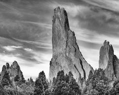 Montezuma's Tower rock formation in the Garden of the Gods outside of Colorado Springs, Colorado.