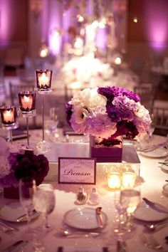 Guest table: Purple Reception Centerpiece