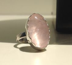 Rose Quarz ring in Sterling Silver / Size 7.75 / OOAK / Ready to ship / Made in Australia