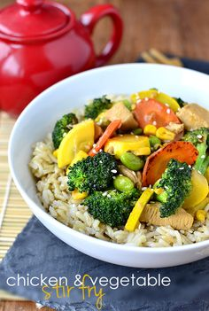 Chicken and Vegetable Stir Fry is a simple and delicious recipe for when you need a healthy, filling, and fast dinner. @IowaGirlEats | iowagirleats.com