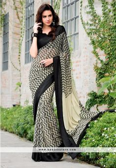 Suave Off White And Black Printed Saree