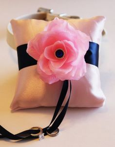 Navy Blue Pink Ring Pillow Ring Pillow attach to the by LADogStore, $68.50 #Wedding #RingPillow #Ring #Pillow #Unique #Amazing #Flower #Ribbon #Pink #NavyBlue #Blue #LightPInk #LADogStore #LA #Dog #Store #DogRingPillow #Colors #Pretty