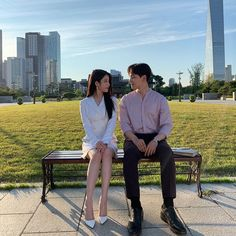 Image may contain: one or more people people sitting shoes tree sky and outdoor Korean Actresses, Korean Actors, Actors & Actresses, Korean Drama Best, Jin Goo, Korean Couple, Luna Fashion, Kdrama Actors, Drama Korea