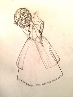 "mermaidsinmytea:  I saw a post floating around somewhere where there is a version of Madame Leota as a ""headless horseman"" type figure, without the horse. So I thought it would be neat to sketch up an idea of what I think it would look like if Madame Leota had to carry her head around everywhere. C:"