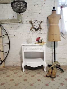 Painted Cottage Chic Shabby White Romantic by paintedcottages, $160.00