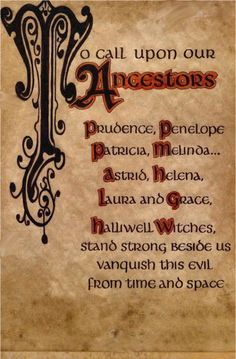 """Book of Shadows:  """"To Call Upon Our Ancestors."""""""
