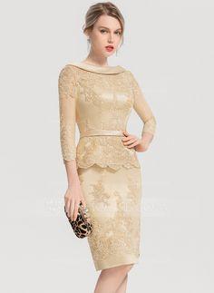 Sheath/Column Scoop Neck Knee-Length Satin Cocktail Dress I Dress, Peplum Dress, Lace Dress, Party Dress, Homecoming Outfits, Senior Prom Dresses, Affordable Prom Dresses, Formal Dresses, Satin Cocktail Dress