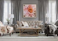 Modern vintage design inspiration - soft , silvery shades of grey & pink flowered patterns.