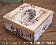 decoupage i crackle szktaułka - pudełko