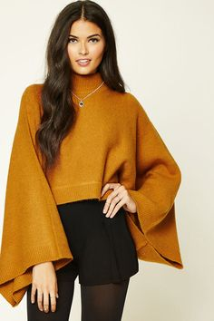 Forever 21 Contemporary - A wool-blend sweater top featuring a mock neckline, batwing sleeves, ribbed trim, and a boxy silhouette.