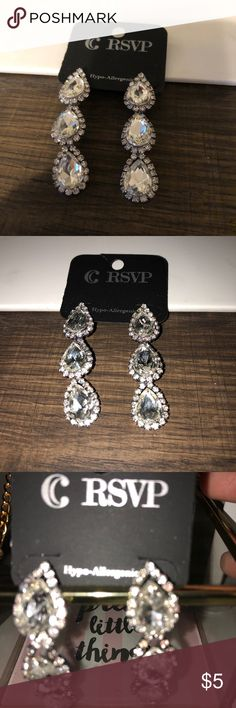 RSVP Evening Wear Earrings Hypoallergenic, dangle earrings. I bought them for my wedding and didn't end up wearing. They are from Charming Charlie.   Always free gift with purchase and quick shipping!  If you are interesting in a wedding bundle, let me know! Charming Charlie Jewelry Earrings