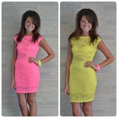 These adorable bright colored lace dresses will be available online tomorrow, 7/7!