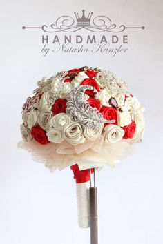 Red and Ivory Wedding Brooch Bouquet by OceanIdeas on Etsy, $265.00