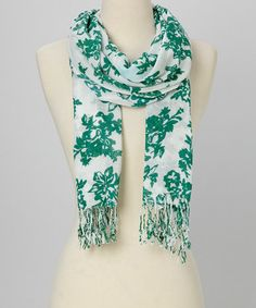 Another great find on #zulily! Green & White Floral Scarf #zulilyfinds