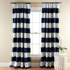 2-Pack Stripe Blackout Window Curtains in Navy