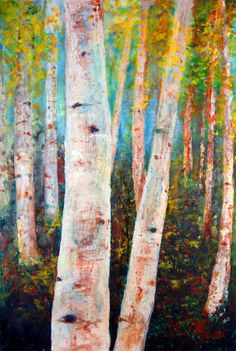 spacing, trunk detail, not these colors | Birch Tree Forest Painting by Gary Deslauriers - Birch Tree Forest ...