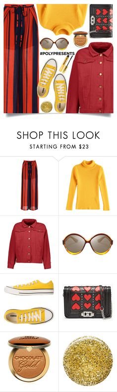 """""""Yellow sweater"""" by mell-2405 ❤ liked on Polyvore featuring Converse, Too Faced Cosmetics, Burberry, Nasty Gal, yellow, red, Sweater, shirt and pants"""