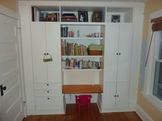 Yes, this is a kid's bedroom but I'm thinking something similar for my office. Built-ins with a desk in the center. From IKEA Hackers: Kid's Built-In Wardrobe Closet Kids Wardrobe Storage, Ikea Wardrobe, Kids Storage, Built In Wardrobe, Built In Storage, Storage Units, Cabinet Storage, Storage Area, Closet Organization