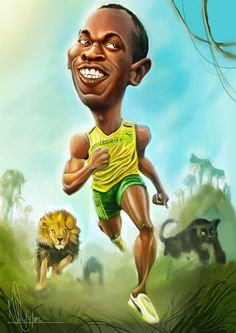 Usain Bolt Caricature   FOLLOW THIS BOARD FOR GREAT CARICATURES OR ANY OF OUR OTHER CARICATURE BOARDS. WE HAVE A FEW SEPERATED BY THINGS LIKE ACTORS, MUSICIANS, POLITICS. SPORTS AND MORE...CHECK 'EM OUT!! Anthony Contorno Sr