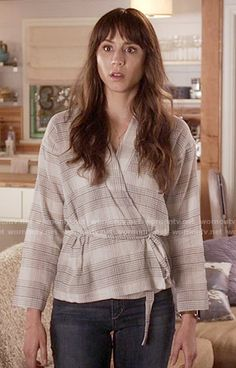 Spencer's plaid wrap top on Pretty Little Liars.  Outfit Details: https://wornontv.net/56152/ #PLL