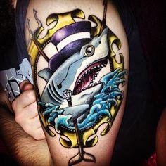 Gentleman shark tattoo. hahaha I love this! someone please get this.