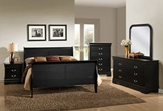 Roundhill Furniture Isony 594 Louis Philippe Style Wood Bedroom Furniture Set King Bed Dresser Mirror Nightstand and Chest Black -- See this great product.