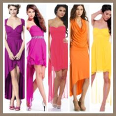 Mismatched hi lo dress bridesmaids. Fun and colourful!