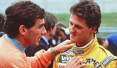 One very angry Ayrton Senna quarrels with a young Michael Schumacher. At the very beginning of the 1992 French Grand Prix, Michael Schumacher attempted a bold overtake which resulted in a collision with Ayrton Senna. Ayrton's . Michael Schumacher, Corinna Schumacher, Mick Schumacher, Flavio Briatore, Formula 1, Grand Prix, F1 Wallpaper Hd, Aryton Senna, Alain Prost