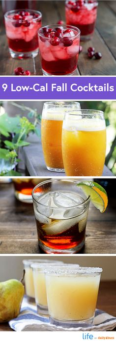 9 Autumn-Inspired Cocktail Recipes Under 200 Calories #DailyBurn #Cocktails #Recipes Low Calorie Alcoholic Drinks, Healthy Cocktails, Fruity Cocktails, Yummy Drinks, Thanksgiving Cocktails, Winter Cocktails, Christmas Cocktails, Holiday Drinks, Thanksgiving Recipes