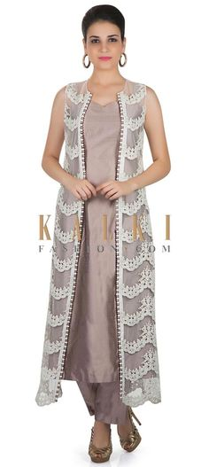 Grey Dupion Silk Top and Pant Featuring Fancy Net Jacket Crafted with Moti and Lace only on Kalki Jacket Style Kurti, Kurti With Jacket, Pakistani Dresses, Indian Dresses, Indian Outfits, Casual Skirt Outfits, Stylish Dresses, Fashion Dresses, Salwar Designs