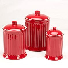 @Overstock - Set includes: 3 canistersColor: RedCapacity: 24 ounces, 44 ounces and 88 ounceshttp://www.overstock.com/Home-Garden/Simsbury-Red-Storage-Canisters-Set-of-3/6330926/product.html?CID=214117 $39.99