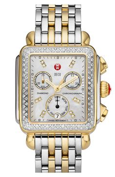 MICHELE Deco Diamond Two Tone Customizable Watch | Nordstrom