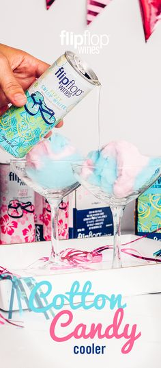 Flipflop Cotton Candy Cooler To Make: Step Choose your favorite Flipflop wine. Step Place a generous handful of cotton candy into a martini glass. 19th Birthday, Mom Birthday, Summer Drinks, Bartender, Cotton Candy, Margarita, Drink Recipes, Yummy Recipes, Martini