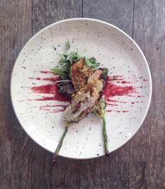 Oyster mushroom and tempeh stuffed squash blossom beet tamari by vegansecretsupper