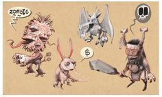 Some creature concepts I might use for my portfolio project.