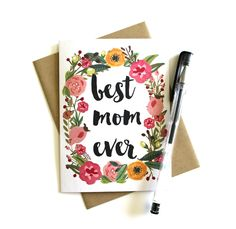 Mother's Day Card 'Best Mom Ever' Floral by SimplyCBoutique