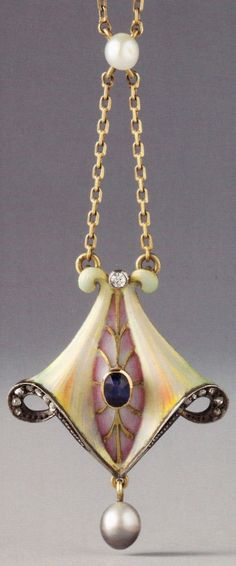 A Jugendstil / Art Nouveau pendant, German, 1903-1910. Composed of gold, silver or platinum, enamel, sapphire, diamonds and pearls. 3.4 x 2.5cm. Source: Wolfgang Glüber, Jugendstilschmuck