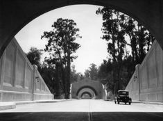 A 1931 view of the Figueroa Street Tunnels, shortly after the first three opened to traffic.