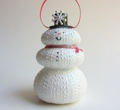 Snowman Ornament  Sea Urchin Ornament by CereusArt on Etsy, $12.00