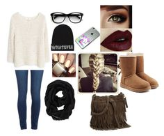 """""""winter vibe"""" by reyawilber on Polyvore featuring Paige Denim, MANGO, Local Heroes, Old Navy and UGG Australia"""