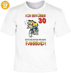 Zum 30 Geburtstag lustiges Geburtstags T-shirt : Ich bin über 30! Bitte helfen Sie mir aufs Fahrrad! mit Gratis Urkunde !Gr:XXL Fb:weiss - Shirts zum 30 geburtstag (*Partner-Link)