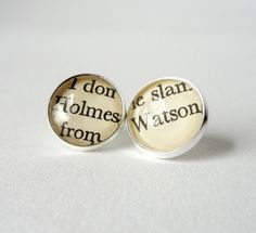 Silver Studs, Sherlock Holmes Book Earrings by Bookity
