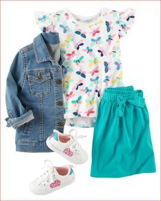 Perfect for school or play, this outfit features a flutter-sleeve butterfly tee and an extra-soft bow skort. Add a stylish denim jacket and glitter heart sneakers to complete this cute look. Toddler Girl Style, Toddler Girl Outfits, Toddler Fashion, Kids Fashion, Toddler Girls, Toddler Ballet, Fashion Images, Toddler Dress, Baby Girls