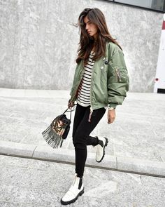 cfc0e2a1d5009 Army Green Patched Bomber Jacket women with style streetwear