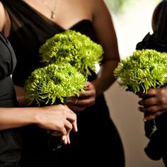 Bouquets of lime-green mums provided a burst of color against the black bridesmaid dresses. Lime Green Bridesmaid Dresses, Bridesmaid Flowers, Wedding Bouquets, Green Bridesmaids, Floral Wedding, Wedding Flowers, Blue Wedding, Mum Bouquet, Lime Green Weddings