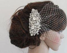 Boda velo birdcage jaula nupcial velo jaula velo boda colorete velo de novia con tocados de novia blusher tocado de boda