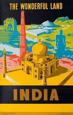 India. The Wonderful Land - Vintage Travel Poster #india