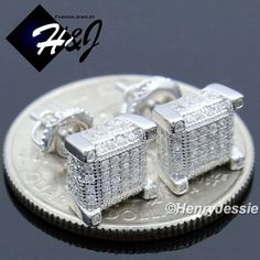 Nice Great MEN 925 STERLING SILVER 7X7MM LAB DIAMOND ICED 3D SCREW BACK STUD EARRING*E128  Cool Check more at 24shopping.tk/...