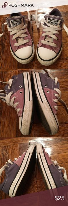 Converse All Stars 2tone purple sneakers girl 13.5 So adorable two tone purple Converse All Stars. Worn just a few times but didn't work for my daughter who has to wear orthodic inserts in her sneakers. Girls 13 1/2 Converse Shoes Sneakers